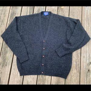 VTG 90s Pendleton Wool Cardigan Charcoal Gray